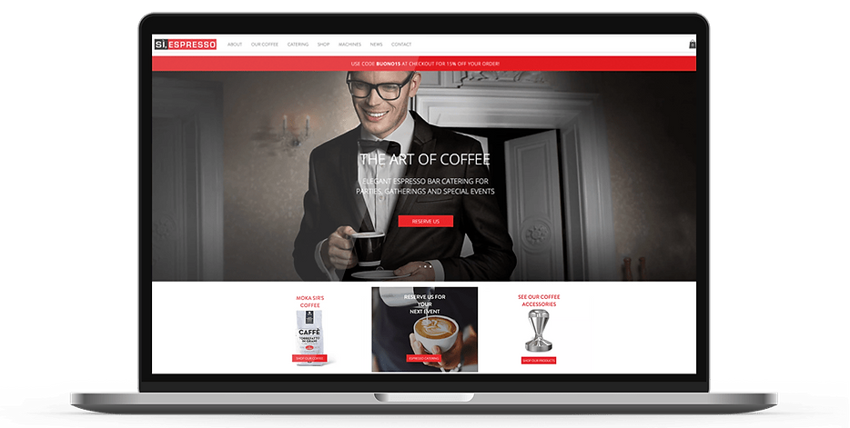 Laptop display of website for Si Espresso