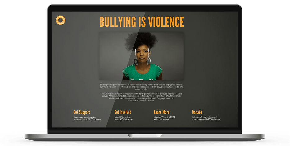 Laptop display of website for Bullying is Violence