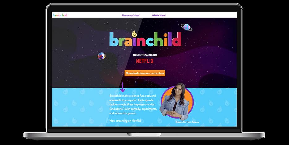 Laptop display of website for Brainchild on Netflix