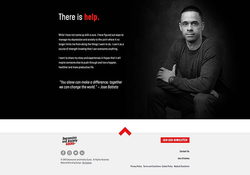 Depression& Anxiety Sucks webdesign about page for Jose Batista