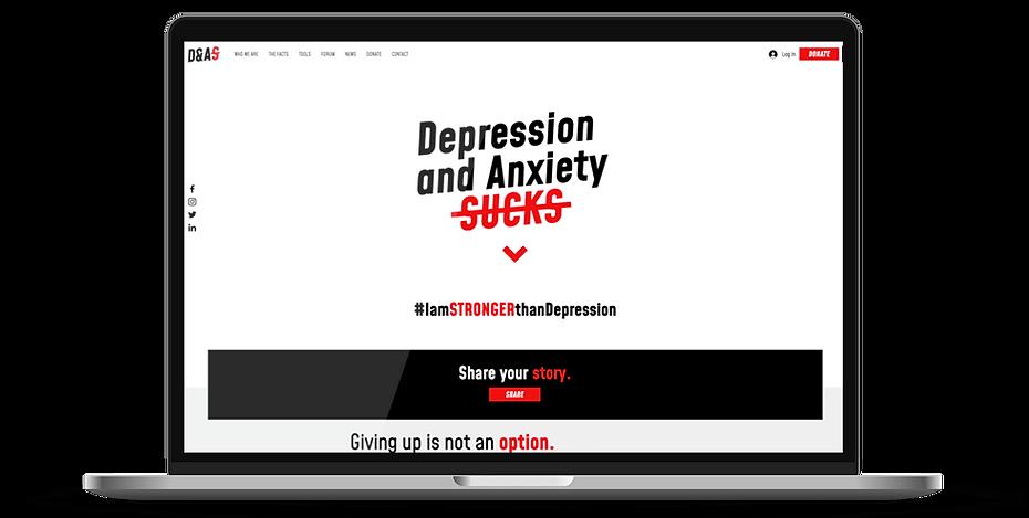 Depression & Anxiety Sucks webdesign on a laptop