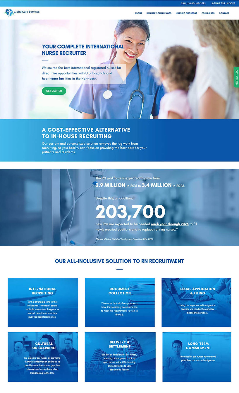 Homepage design for GlobalCare Services