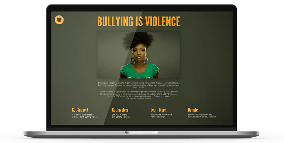 Bullying is Violence Web design on laptop
