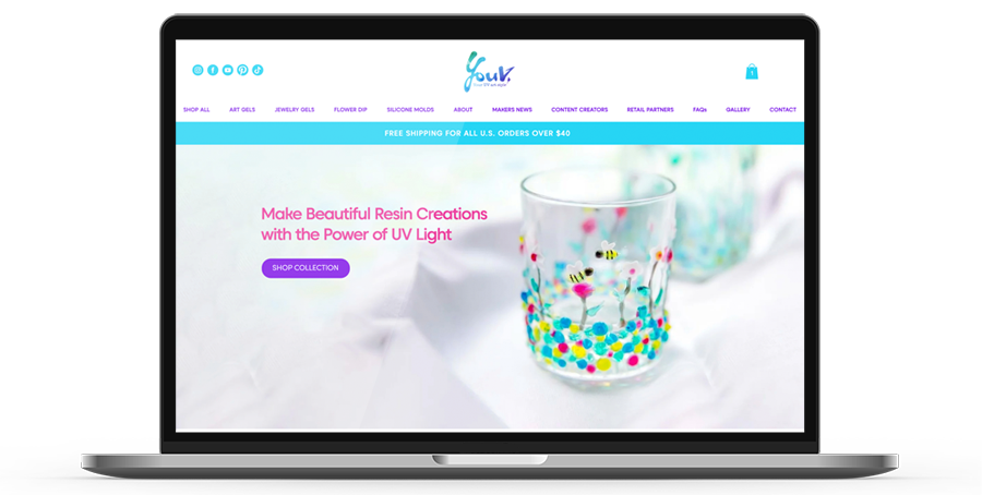Laptop display of website for YouV