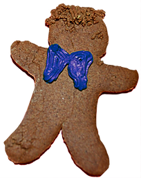 Gingerbread man cookie with blue icing bowtie