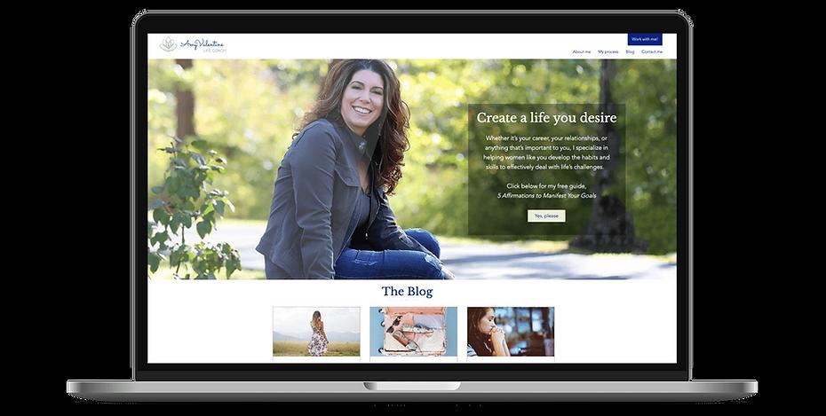 Amy Valentine Life Coach Web design on laptop