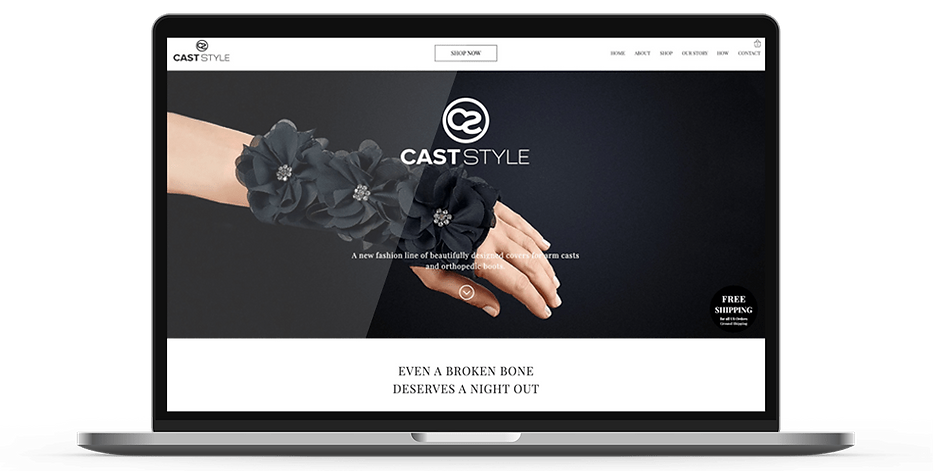 Laptop display of website for Cast Style