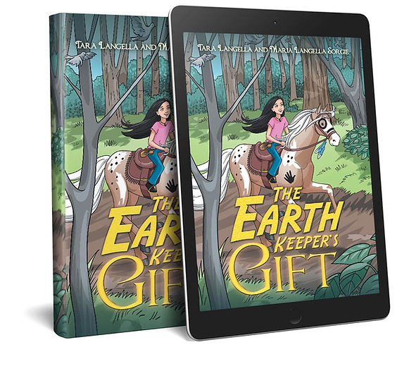 The Earth Keepers Gift book cover art and ipad