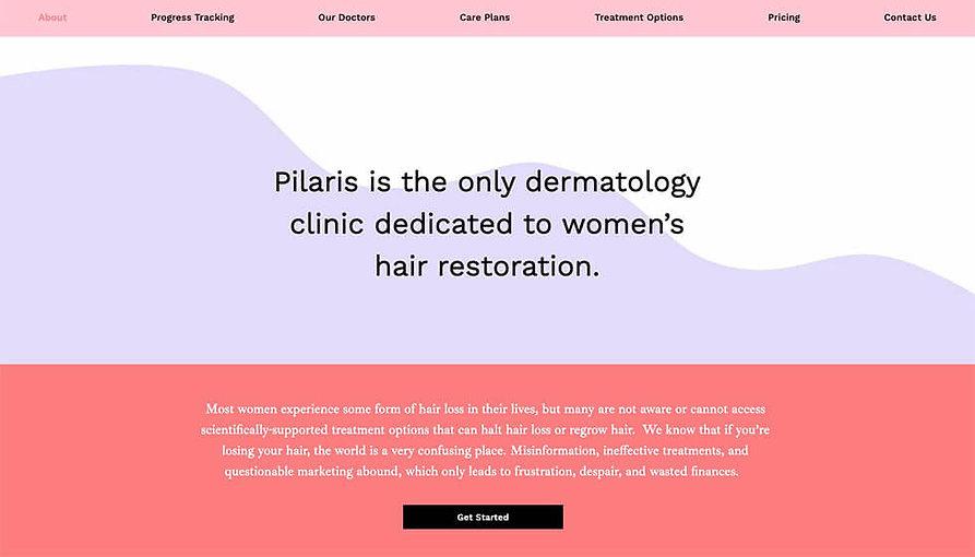 Pilaris about page design