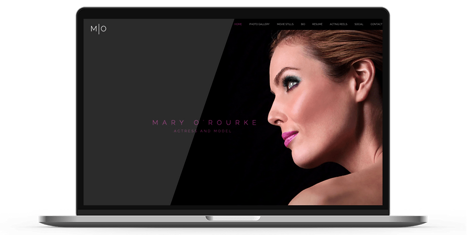 Laptop display of website for actress and model Mary O'Rourke