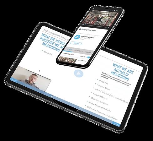 iPhone and iPad display of video fitness membership
