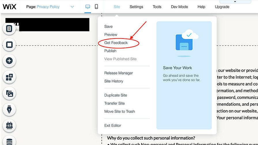 Screenshot of selecting get feedback in the Wix Editor