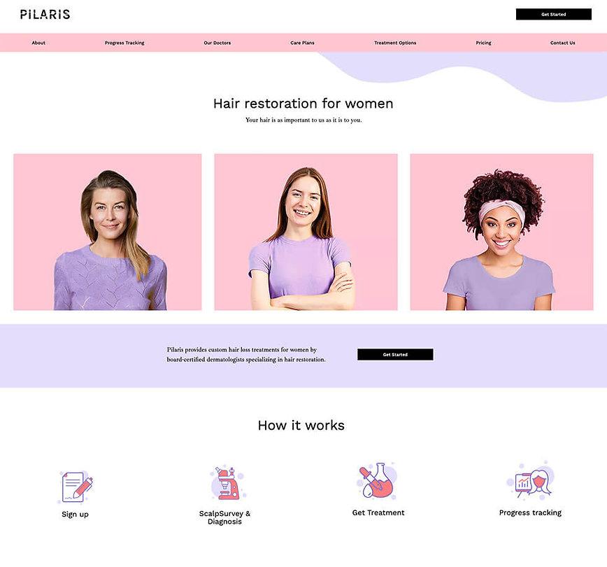 Hompag design for Pilaris
