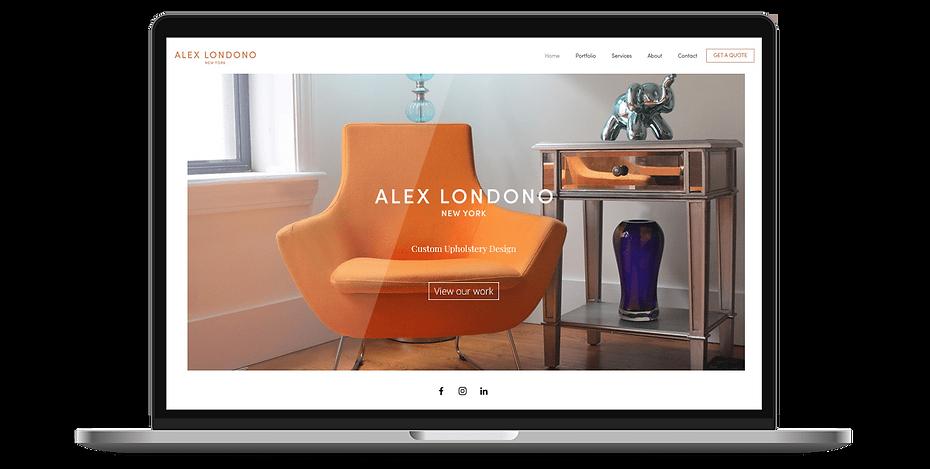 Alex Londono Webdesign on laptop