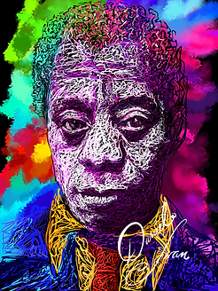 James Baldwin Colourful Portrait by Stre