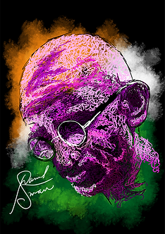 Ghandi Colour Portrait Digital Artwork b