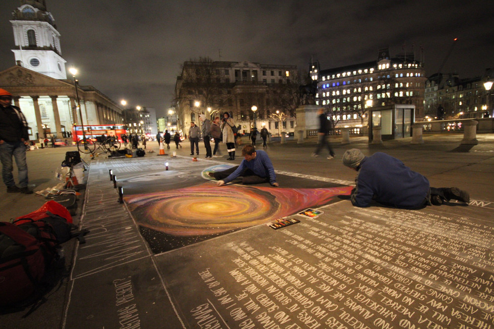 Galaxy Mural Chalk Painting by Street Artist Daniel K Swan