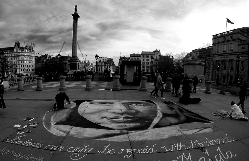 Malala Black and White Large Mural by Da