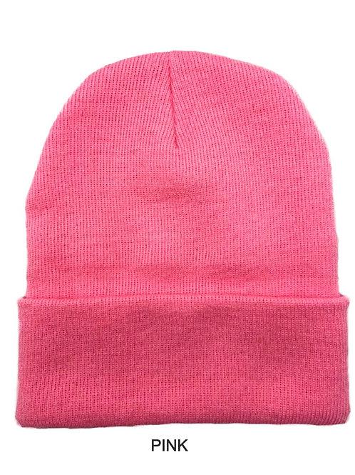 NewLife Plain 100% Acrylic Knit Cuff Pink Beanie Knit Hat/Cap Beanie Hat for Men