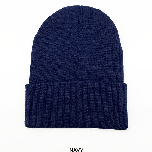 NewLife Plain 100% Acrylic Knit Cuff Navy Beanie Knit Hat/Cap Unisex