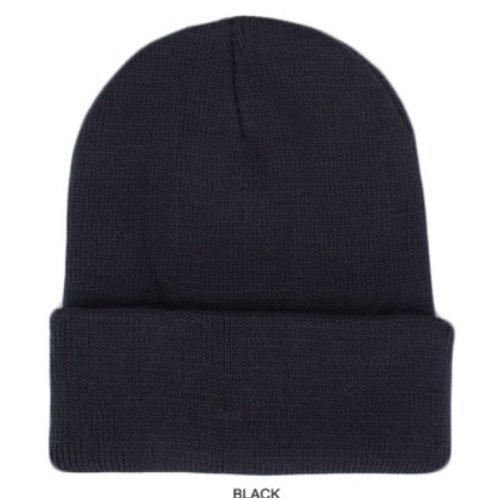 New NewLife Plain 100% Acrylic Knit Cuff Black Beanie Knit Hat/Cap Unisex