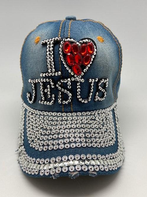 I LOVE JESUS BLING HAT CAP RED HEART