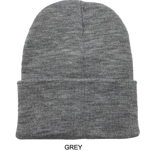 NewLife Plain 100% Acrylic Knit Cuff Grey Beanie Knit Hat/Cap Beanie Hat for Men