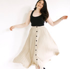 Pleated Beige A-line Skirt