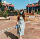 Blue & White Tropical Print A-Line Dress