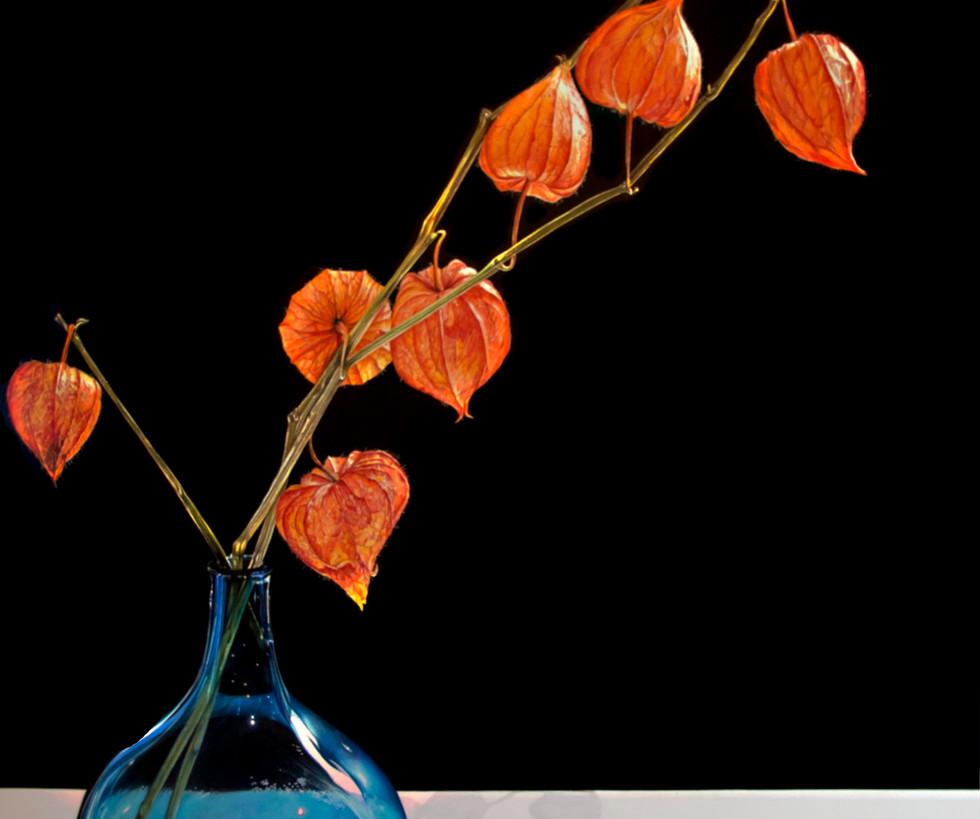 Blue Vase with Lanterns