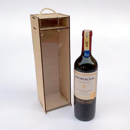 Caja de vino, botella 750cc