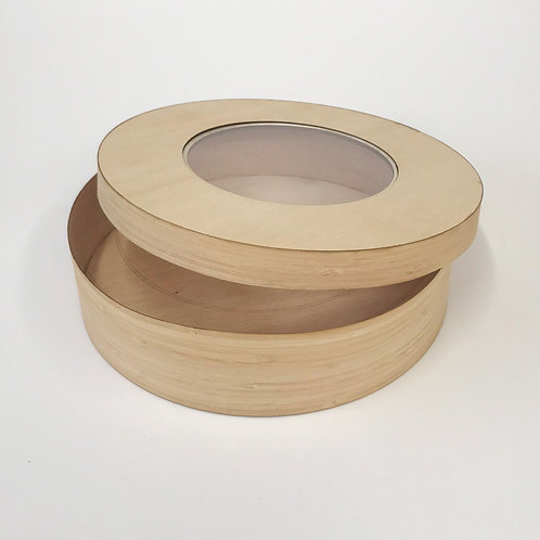 Caja redonda con tapa de acrílico tipo anillo