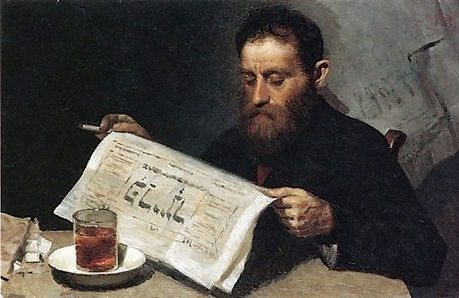 Reading-a-Newspaper-Yehuda-Pen-Oil-Paint