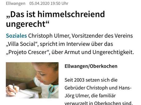 Von Armut und Ungerechtigkeit - Interview mit Christoph Ulmer in der Schwäbischen Post