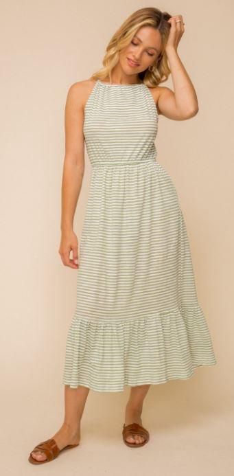 Ditsy Stripe Midi Dress