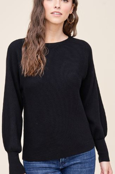 Black Sweater with puffy sleeves