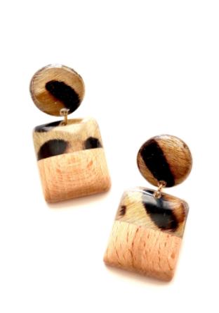 Leopard Wood Dangle Earrings