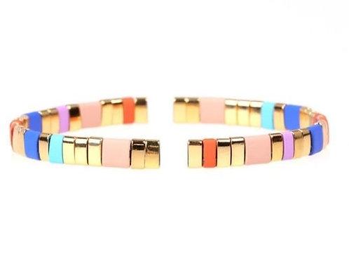 Gold Glass Tila Bracelet