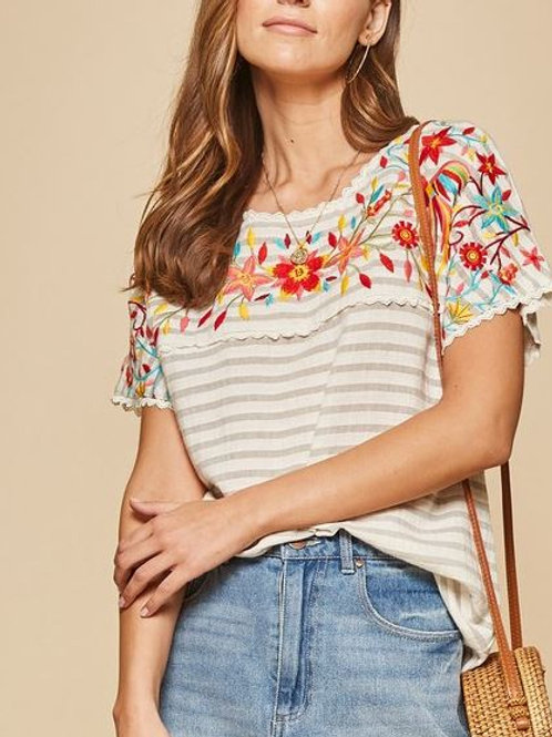 Striped & Embroidered Boho Top
