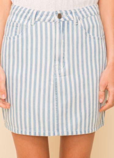 Striped Stretch Mini Skirt