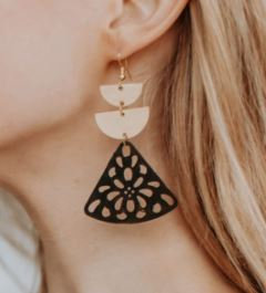 Gold and Black Geo Earring