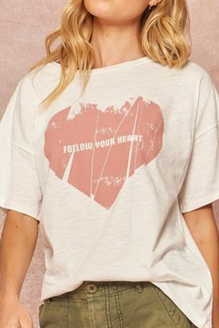 Follow Your Heart Distressed T-Shirt