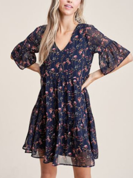 Chiffon Floral Baby Doll Dress