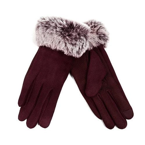 Vegan Suede Faux Fur Gloves