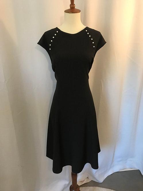 White Pearl Black Dress