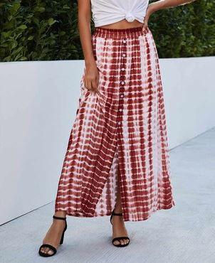 Tie-Dye Button down Maxi Skirt