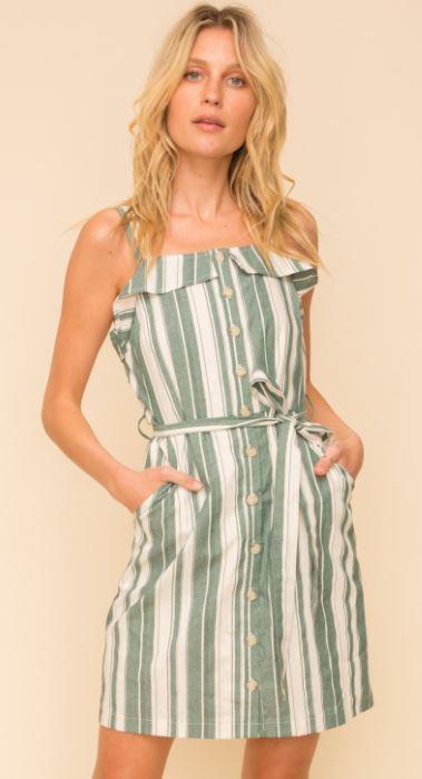Stripe Button Down Sleeveless Dress