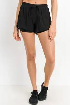 Active Mesh Shorts with Inner Lining  Black