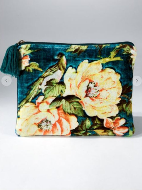 Velvet Vintage Floral Pouch