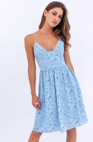 Ditsy Floral Print Light Blue Dress